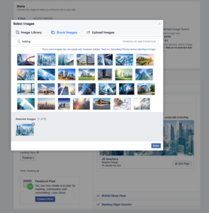 Selecting online imagery in Facebook Ads